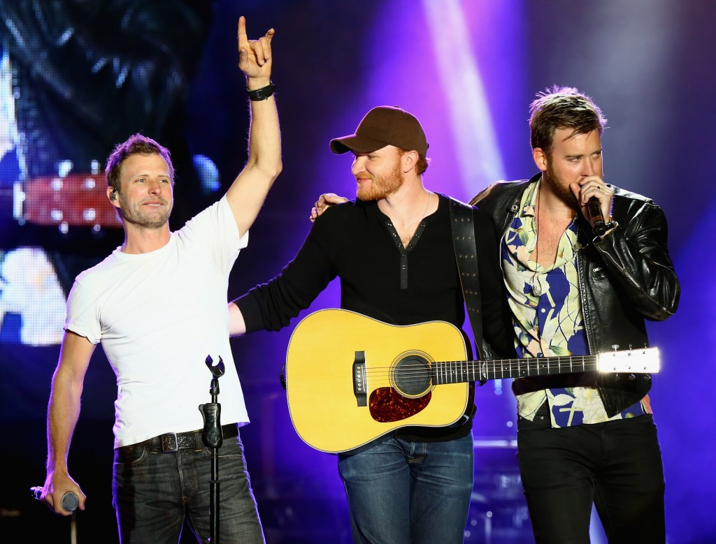 Dierks Bentley, Eric Paslay and Charles Kelley perform onstage at the 4th ACM Party for a Cause Festival at the Las Vegas Festival Grounds on April 2, 2016 in Las Vegas, Nevada. (Photo by Mark Davis/Getty Images for ACM)""