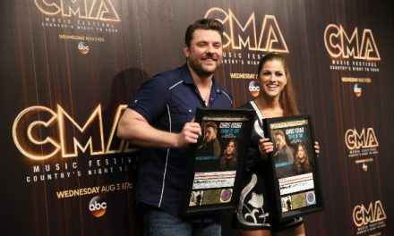 "Chris Young Surprises Cassadee Pope with Gold Plaque for ""Think of You"" at CMA Fest"