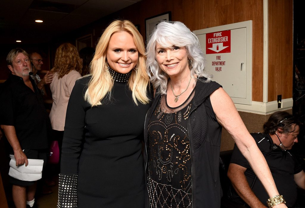 Miranda Lambert and Emmylou Harris backstage during the 10th Annual ACM Honors at the Ryman Auditorium on August 30, 2016 in Nashville, Tennessee. (Source: Erika Goldring/Getty Images)