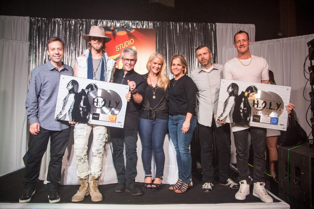 BMLG Records VP Promotion Matthew Hargis, Brian Kelley, BMLG EVP/BMLG Records President Jimmy Harnen, BMLG SVP of A&R Allison Jones, BMLG SVP of Sales, Marketing and Interactive Kelly Rich, BMLG COO Andrew Kautz and Tyler Hubbard