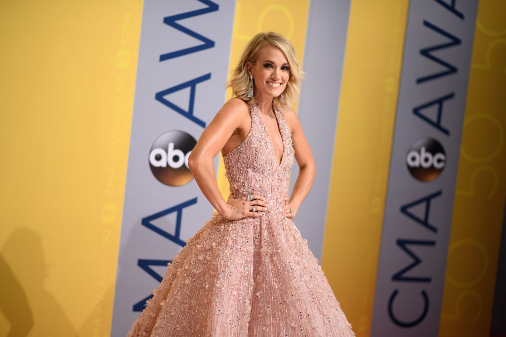 "THE 50th ANNUAL CMA AWARDS - ""The 50th Annual CMA Awards,"" hosted by Brad Paisley and Carrie Underwood, broadcasts live from the Bridgestone Arena in Nashville, Wednesday, November 2 (8:00-11:00 p.m. EDT), on the ABC Television Network. (ABC/Image Group LA) CARRIE UNDERWOOD"