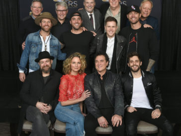 Pictured (L-R): Back Row – Big Machine Records GM Jim Weatherson, BMLG EVP & BMLG Records President Jimmy Harnen, CRB Executive Director Bill Mayne, The Valory Music Co. GM George Briner, CRB Board President Kurt Johnson (Townsquare Media); Middle Row – Drake White, Tyler Rich, Trent Harmon, Brett Young; Front Row – Sugarland, BMLG President & CEO Scott Borchetta, Thomas Rhett