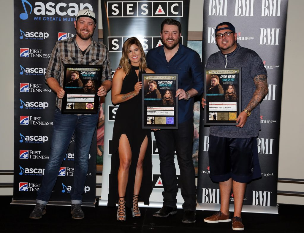 """ASCAP songwriter Corey Crowder, BMLG Records artist/ASCAP songwriter Cassadee Pope, RCA Records Nashville artist/BMI songwriter Chris Young, and SESAC songwriter Josh Hoge celebrate the chart-topping success of """"Think Of You"""" from Young's RIAA Gold certified No. 1 album, I'm Comin' Over"""