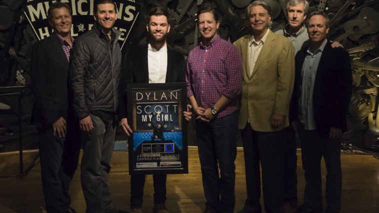 (L-R): Benson Curb (VP of Sales, Curb Records), Taylor Childress (VP and GM, Curb Records), Dylan Scott, Ryan Dokke (VP of Promotion, Curb Records), Mike Curb (Chairman, The Curb Group), Mike Rogers (National Director of Promotion, Curb Records), Jeff Tuerff (VP of Marketing, Curb Records)